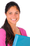 Smiling Female Student with Binder Stock Photo