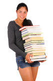 Smiling Female Student with Books Stock Images