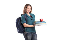 A smiling female student holding books Royalty Free Stock Photos