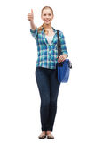 Smiling female student with laptop bag Royalty Free Stock Image
