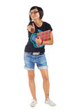 Smiling female student with red folder, thumbs up Royalty Free Stock Image