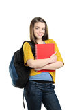 A smiling female student with a school bag Stock Photo