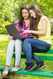 Smiling female students using laptop Stock Photography