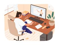 Free Smiling Female Study Online Looking At Computer Screen Making Notes Vector Illustration. Domestic Girl Sitting On Chair Stock Photo - 189876230