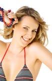 Smiling female swimsuit Stock Photos