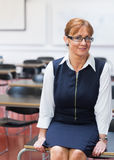 Smiling female teacher in the class room Royalty Free Stock Image