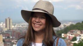 Smiling Female Teen Wearing Hat stock footage