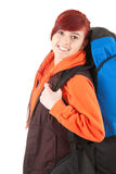 Smiling female tourist with backpack Stock Images