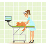 Smiling female veterinarian examining cat in vet clinic. Colorful cartoon character Royalty Free Stock Image