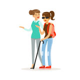Smiling female volunteer helping and supporting blind woman, healthcare assistance and accessibility colorful vector. Illustration on a white background royalty free illustration