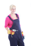 Smiling female worker with a drill Stock Photo