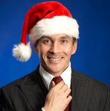 Smiling festive businessman stock images