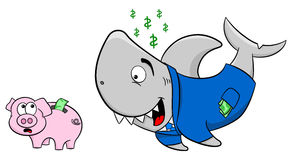 Smiling financial shark and frightened piggy bank Stock Photography