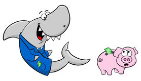 Smiling financial shark and frightened piggy bank Royalty Free Stock Images