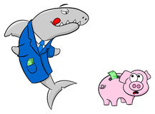 Smiling financial shark and frightened piggy bank. Vector illustration of a smiling financial shark and a frightened piggy bank Stock Photo