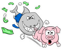 Smiling financial shark is hunting a frightened piggy bank. Vector illustration of a smiling financial shark is hunting a frightened piggy bank Royalty Free Stock Images