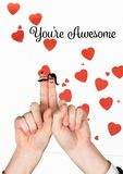 Smiling finger couple in love with message Royalty Free Stock Photo
