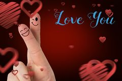 Smiling finger couple, love you message and red hearts Royalty Free Stock Photo