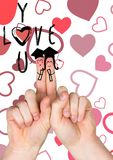 Smiling finger couple, love you message and red hearts Stock Image