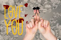 Smiling finger couple in mortarboard, love you message and hearts. Against white background Royalty Free Stock Photos