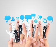 Smiling finger for symbol of business social network Stock Photography