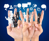Smiling finger for symbol of business social network Royalty Free Stock Photo