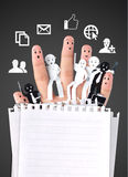 Smiling finger for symbol of business social network Royalty Free Stock Photos