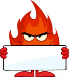Smiling Fire Cartoon Character Holding A Blank Banner. Smiling Fire Cartoon Mascot Character Holding A Blank Banner Stock Photos