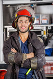 Smiling Firefighter Standing Arms Crossed Royalty Free Stock Photos