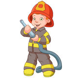 Smiling fireman. Smiling firefighter with a hose Royalty Free Stock Photography