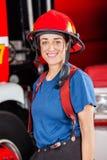 Smiling Firewoman Wearing Red Helmet Royalty Free Stock Image