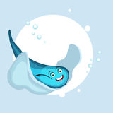 Smiling fish in blue color. Smiling cute shiny blue fish with bubbles on stylish background Royalty Free Stock Photography