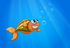 A smiling fish in the ocean. Illustration of a smiling fish in the ocean Stock Photos