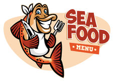 Smiling fish seafood restaurant mascot Stock Photography
