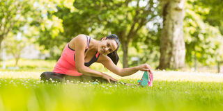 Smiling fit brunette stretching on the grass Stock Photos