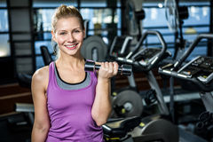 Smiling fit woman doing dumbbells exercise royalty free stock images