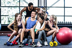Smiling fitness class posing together Stock Photography