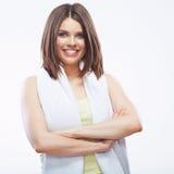 Smiling fitness girl holding towel isolated on white background Stock Image