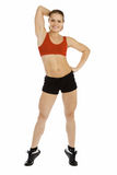 Smiling fitness instructor. Pretty fitness instructor posing against white background Stock Photo