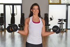 Smiling fitness woman lifting weights Royalty Free Stock Photography