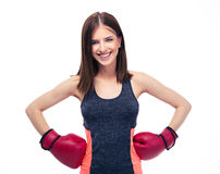 Smiling fitness woman in red boxing gloves Royalty Free Stock Image