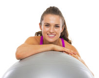 Smiling fitness young woman with fitness ball Royalty Free Stock Photo