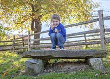 Smiling five year old boy holding out five fingers royalty free stock images