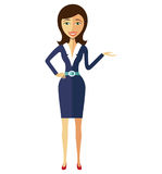 Smiling flat cartoon business office woman in suit presents some Royalty Free Stock Image
