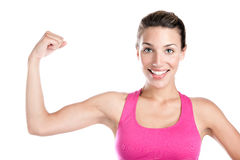 Smiling and flexing Stock Image