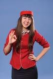 Smiling flight attendant Stock Photos