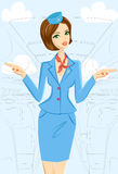 Smiling Flight Attendant Showing Emergency Exits On Plane. Vector illustration of cute cheerful female flight attendant in blue and red uniform gesturing Royalty Free Stock Photos