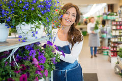 Smiling Florist Pushing Flower Shelves In Shop Royalty Free Stock Photo