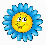 Smiling flower. Blue and yellow colors - illustration Stock Photos