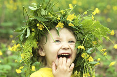 Smiling Flower Child Stock Photography